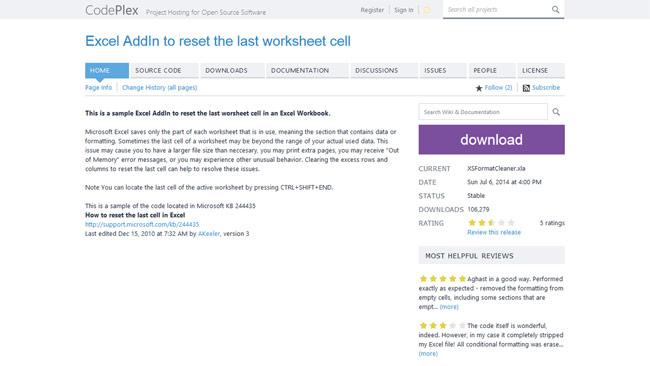 Excel AddIn to reset the last worksheet cellのダウンロードページ