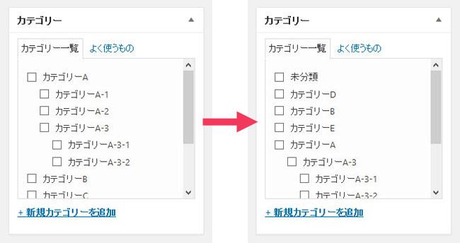 Taxonomy Order使用前・使用後の記事投稿画面カテゴリー
