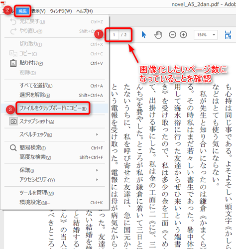 Adobe Acrobat Reader DC操作画面