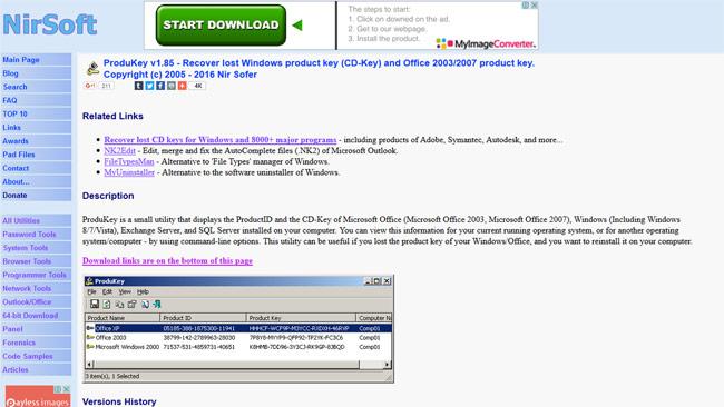 ProduKeyのダウンロードページ