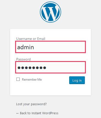WordPressダッシュボードのログイン画面