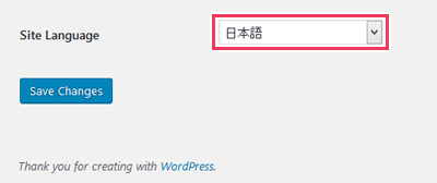 WordPressダッシュボードの一般設定画面