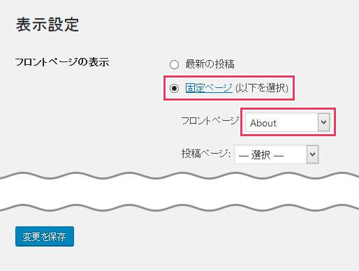 WordPressダッシュボードの表示設定画面
