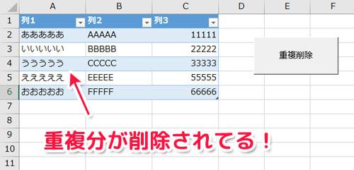 Excel VBA 自作マクロその1「重複削除」- 重複するデータをボタン1つで削除
